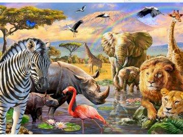 Realistyczne zwierzęta - lwy, żyrafy, nosorożce, ptaki, słonie, lwy i flamingi. Stado zebry stojące obok akwenu.