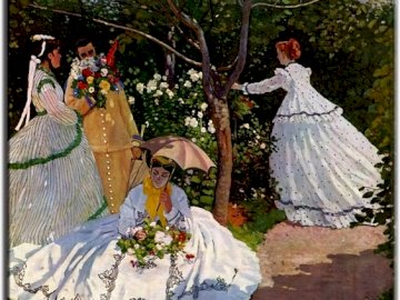 Painting by C. Monet. - Painting. Women in the garden. A person standing in front of a wedding cake.