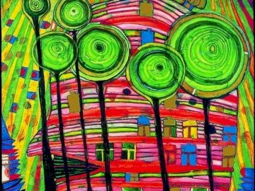 HUNDERTWASSER - HUNDERTWASSER kindergarten. A close up of a colorful wall. HUNDERTWASSEUR-Kindergarten. A close up o