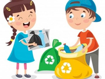 Children sort out garbage - Picture showing segregation, cleaning up the world. A toy doll.