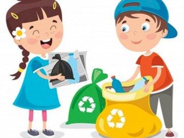 Dzieci segregują śmieci - Obrazek pokazujący segregację, sprzątanie świata. Lalka-zabawka.