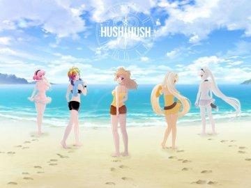 Următorul joc video Hush și apoi încă un Hush - următorul joc de Sad Panda Studios. Un grup de oameni pe o plajă.