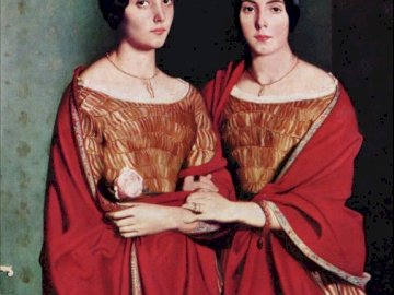 The Artist's Sisters (1843) - The Artist's Sisters by Théodore Chassériau (1843). A couple of people posing for the camera.