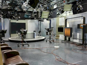TELEVISION - TELEVISION STUDIO IS A PLACE WHERE THE PROGRAM IS RECORDED. A large room.