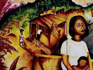 Das Kunstwerk zeigt die - Braunes und Gewächshaus und Bergmalerei. San Francisco, CA. Eine Person, die für die Kamera posier