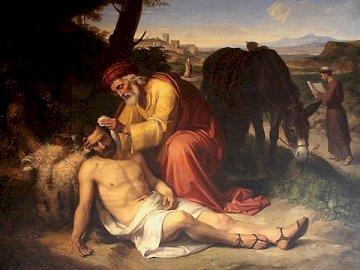 Merciful Samaritan - Merciful Samaritan. A man sitting on top of a mountain.