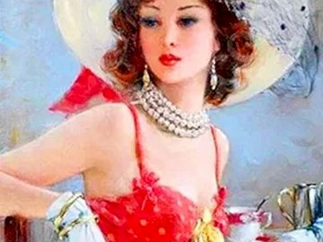 Romantic woman - Beautiful woman, vivid colors, romanticism. A person wearing a red hat.