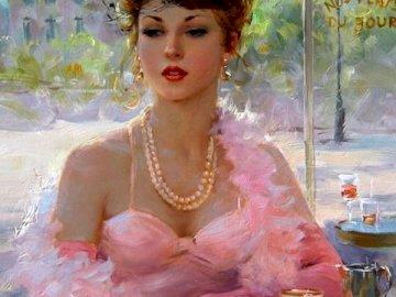 Kobieta, z widokiem na plac - Piękna kobieta, obraz olejny. Kobieta siedząca na stole.