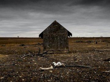 Ich bin auf diese Szene in gestoßen - Brauner Holzschuppen im Bauernhof. Eine alte Scheune auf einem Feld.