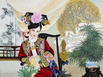 Chinese woman - A woman in traditional Chinese clothing. A person sitting at a table with a vase of flowers.