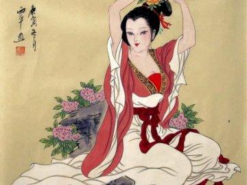 Arte chino tradicional - Hermosa mujer china en vestimenta tradicional.