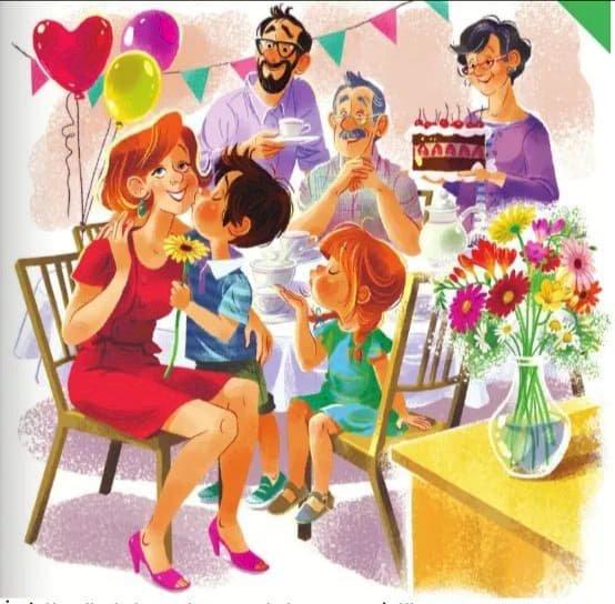 Niespodzianka dla mamusi - Puzzle Niespodzianka dla mamusi. Grupa ludzi w pokoju (3×3)