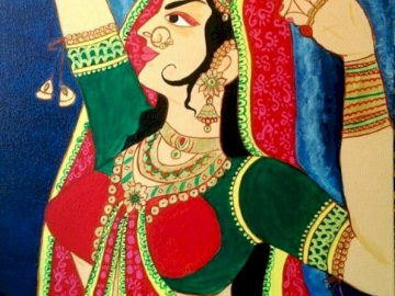 Indian art, traditional - Traditional art from India, woman.