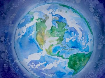 Planet Earth (South and North - Blue green and yellow abstract painting. Ukraine.