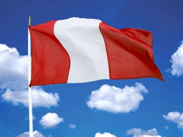 Peruvian flag - flag of Peru to work with children on the day of the Peruvian flag. A red white and blue flag.