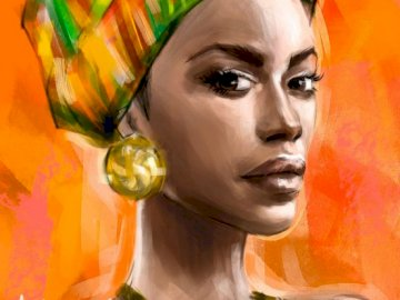 African woman - Art, African woman, folklore. A person wearing a colorful hat.