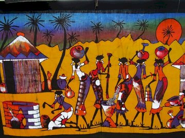 African village, art - africa, village, folklore, art. A group of colorful graffiti.