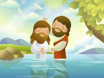 Le baptême de Jésus - Jean-Baptiste baptise Jésus dans le Jourdain.