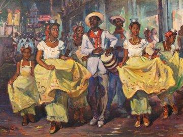 Vida cubana, fiesta - Arte cubano, diversión nocturna. Un grupo de personas posando para una foto.