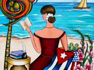 Woman at the seaside - A woman reading at the seaside. A painting of a person.