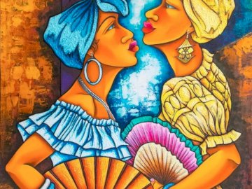 Two colorful women - color, women Cuban art. A painting of a person.