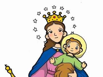 Maryja Wspomożycielka - Maryja pomaga chrześcijanom. Rysunek postaci z kreskówek.