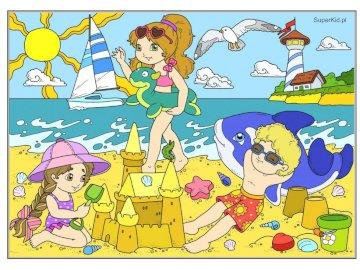 Nad morzem - morze, plaża, wakacje. Zbliżenie logo.
