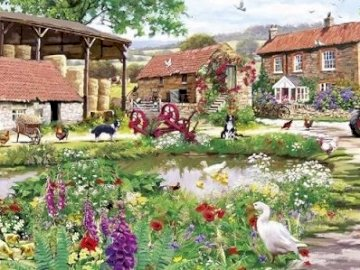 Countryside farm. - Rural farm with animals. A bird house in a garden.