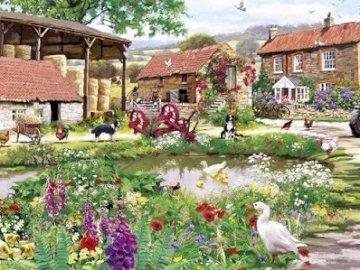 Wiejskie gospodarstwo. - Wiejskie gospodarstwo ze zwierzętami. Dom dla ptaków w ogrodzie.