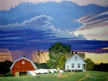A storm on the horizon. - Puzzle: a storm on the horizon. A small house in a barn.