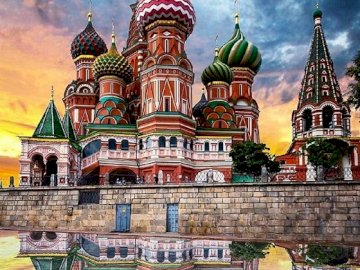 Orthodox church in Moscow. - St. Basil's Cathedral. A group of people standing in front of a castle.