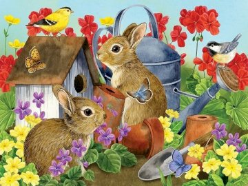 Gray bunnies. - Puzzle: Gray bunnies in the garden. A group of stuffed animals sitting on top of a flower.