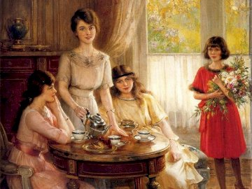 Painting. - Young women at the table in the room. A couple of people that are standing in front of a window.