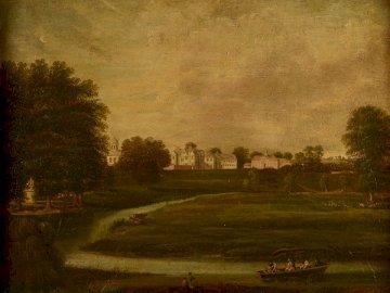 Distant View Of Birdingbury - Green grass field near trees painting. Birmingham, UK. A field of grass.