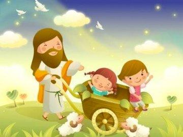 Jésus et les enfants - Puzzle enfant (IRC). Un gros plan d'un jouet.