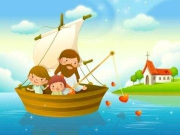 Jezus w łodzi z dziećmi - Jigsaw on Jesus for Children (IRC).