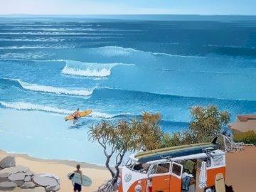 dia en la playa - dia en la playa con furgoneta. Plaża nad oceanem.