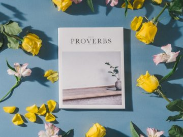 Book of Proverbs, Bible with - Proverbs book beside white and pink flowers. Los Angeles. A bouquet of flowers in a vase on a table.