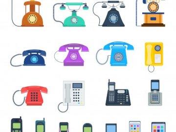 téléphones - Infographie avec différents téléphones.