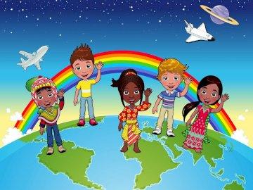 Figli del mondo - Puzzle mondiale per bambini in età prescolare.