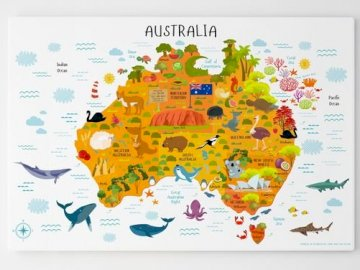 AUSTRALIE - AVEC BADDY PADDINGTON PAS DE PERÇAGE. Un gros plan d'une carte.