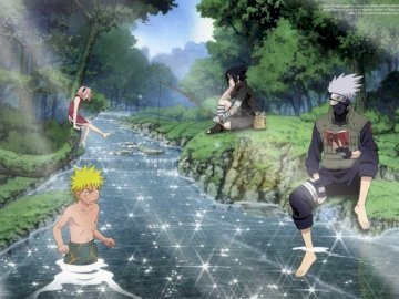 Naruto Team 7 - Naruto and team 7. A group of people in a park.