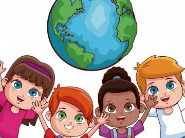 Children of the world 1 - Complete the puzzle of 20 elements of children of the world. A drawing of a cartoon character.
