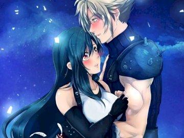 Final Fantasy - Tifa et Cloud parfait couple amoureux. Une femme assise sur une scène.