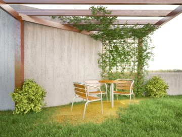 Pergola - pergola design by mirian cristofoli of the photo that leaves the house at the back door. A chair sit