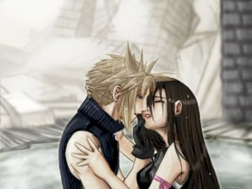 Final Fantasy - Tifa et Cloud parfait couple amoureux. Une femme allongée sur un lit en train de parler au téléph