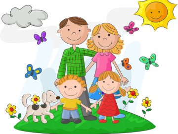Glückliche Familie - Setze das Bild zusammen.