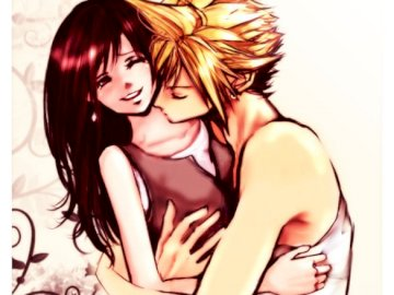 Final Fantasy - Tifa and Cloud perfect couple love. A woman taking a selfie.