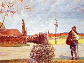 El hijo pródigo - Parábola pródigo hijo. Una mujer de pie junto a un árbol.