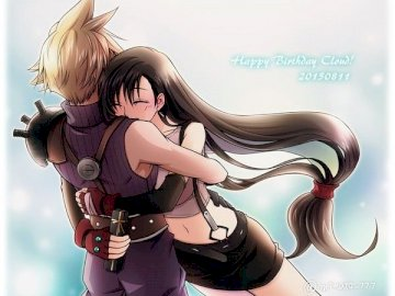 Final Fantasy - Tifa and Cloud perfect couple love. A woman wearing a costume.